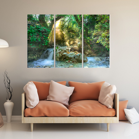 Beautiful Sunlit Forest Canvas Print-Wallart 3 Piece Vertical Rectangle-Medium - Not framed-Green-Cool Tees & Things