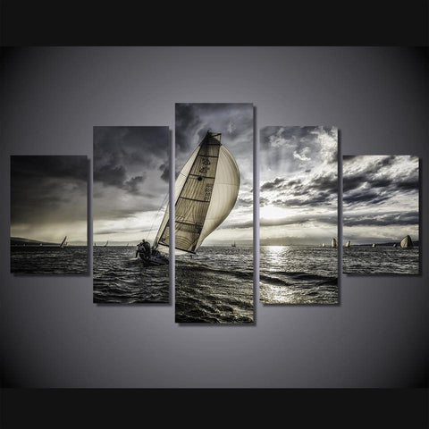 Beautiful Sunset Sailing Canvas Print- Sunset Sail Medium Framed Wall Art Mural - Cool Tees and Things