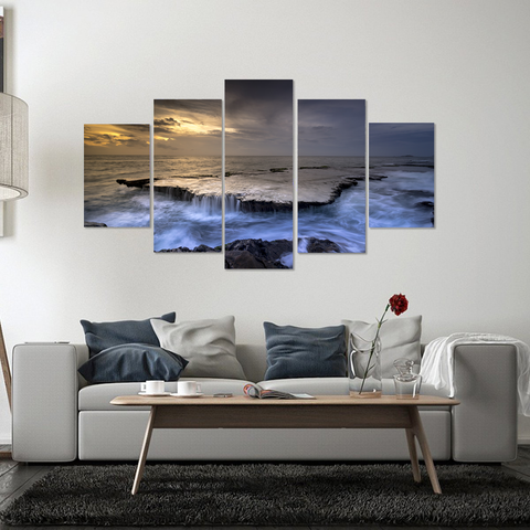 Beautiful Tranquil Sea At Sunset-Canvas Print Wall Art Mural-Medium-Not Framed-Gray, White, Orange, Blue-Cool Tees & Things