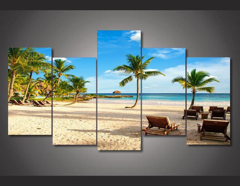 Beautiful Tropical Beach Paradise Large Framed Wall Art Canvas Mural - Cool Tees and Things