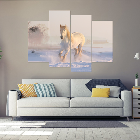 Beautiful White Horse in Winter Snow Canvas Print-Medium-Not Framed-White-Cool Tees & Things