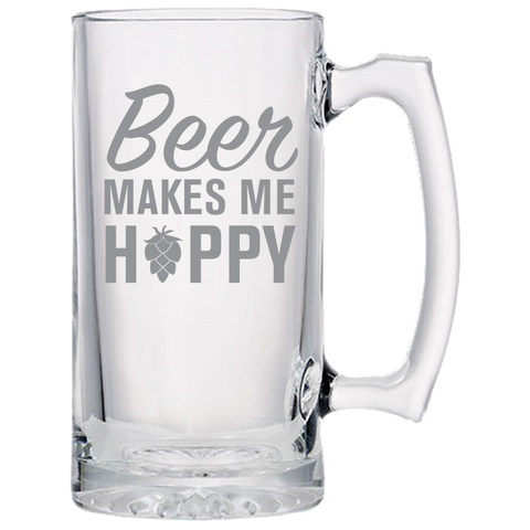 Beer Makes Me Happy- Laser Etched Beer Mug