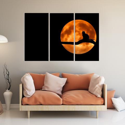 Black Cat in the Moonlight Canvas-Wallart 3 Piece Vertical Rectangle-Medium - Not framed-Orange-Cool Tees & Things