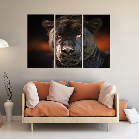 Black Panther Canvas Art-Wallart 3 Piece Vertical Rectangle-Medium - Not framed-Black-Cool Tees & Things