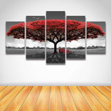 Blooming Red Tree-size2 W 100cm H 55cm-Not Framed-Red-Cool Tees & Things