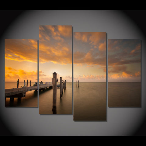 Boating Dock Sunset-Medium-Not Framed-Cool Tees & Things