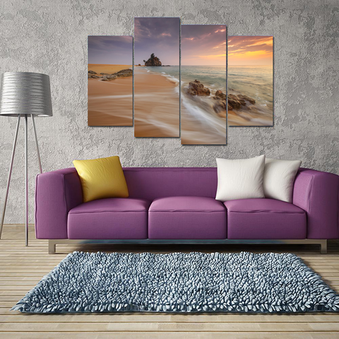 Bora Bora Paradise Canvas Print Wall Art Mural-Medium-Not Framed-Brown-Lavender_Orange-Cool Tees & Things