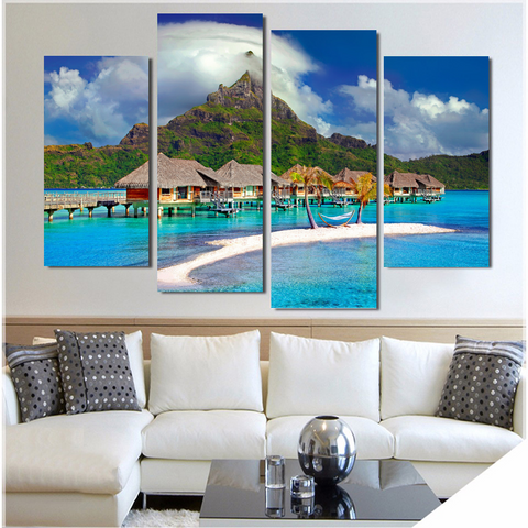 Bora Bora Paradise-Medium-Not Framed-Green/Blue/Brown/White-Cool Tees & Things