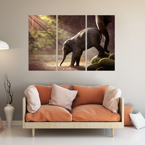 Brave Baby Elephant Canvas-Wallart 3 Piece Vertical Rectangle-Medium - Not framed-Brown-Orange-Green-Cool Tees & Things