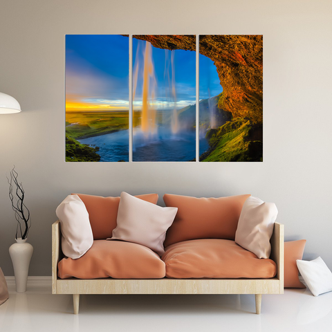 Breathtaking Iceland Skogafoss Waterfall Canvas-Wallart 3 Piece Vertical Rectangle-Medium - Not framed-Blue-Orange-Cool Tees & Things