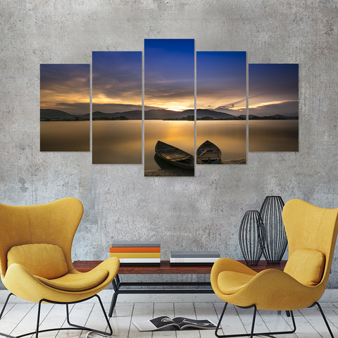 Breathtaking Sunset Boating- Stunning Canvas Print Wall Art Mural - Cool Tees and Things