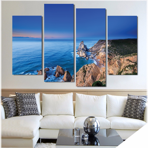 Cabo da Roca-Wallart 4 Piece Staggered 2-Medium - Not framed-Blue/Tan/White/-Cool Tees & Things