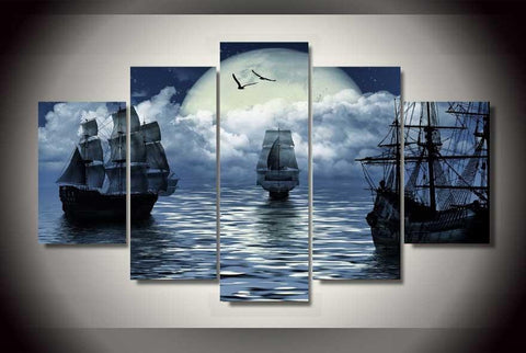 Caribbean Sailing Canvas Print- Large Framed Stretched Canvas Wall Art Mural.  Fantasy Sailing Ships with Yellow Moon - Cool Tees and Things