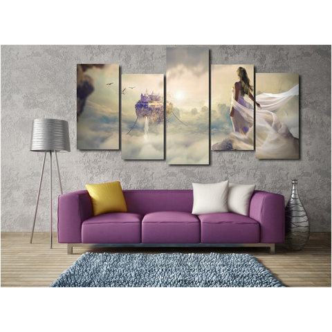 Cloud Fantasy-Wallart 5 Piece Staggered-Medium - No frame-White/Yellow/Lavender-Cool Tees & Things