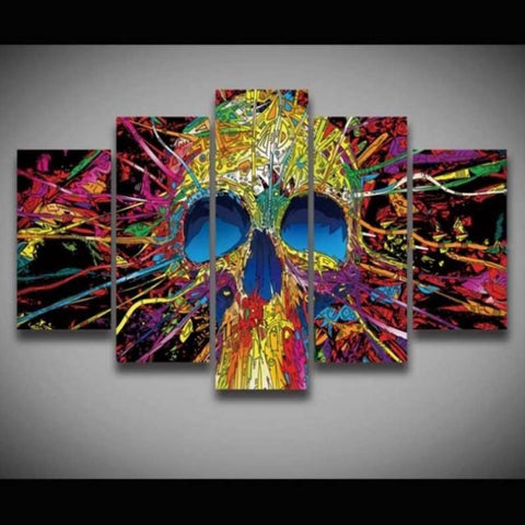 Cool Abstract Colorful HD Skull- Modern Canvas Art Mural-Medium-Framed-Yellow-Cool Tees & Things
