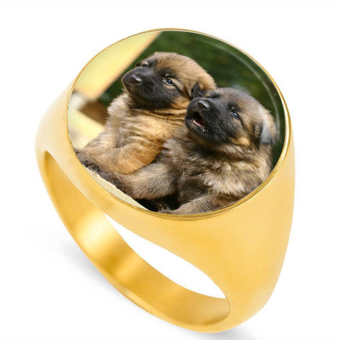 Cute German Shepherd Puppy Luxury Ring - Cool Tees and Things