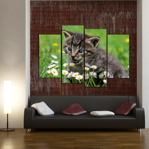 Cute Kitten Canvas-Medium-Not Framed-Green-Cool Tees & Things