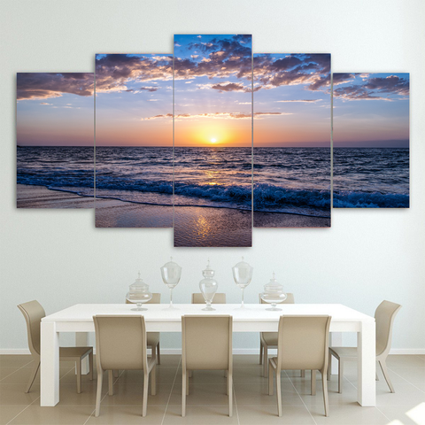 Dawn Sunrise Beach Canvas-Medium-Not Framed-White-Blue-Cool Tees & Things