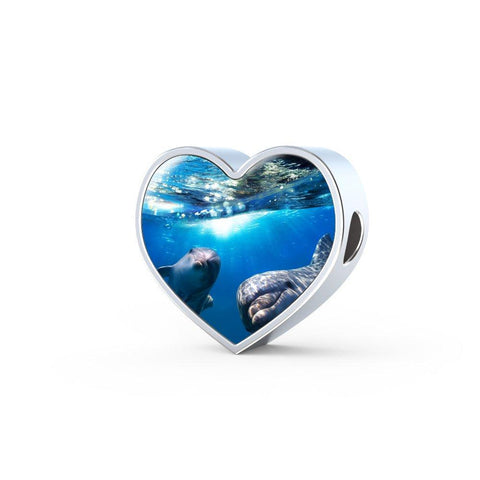 Dolphin Friends Heart Charm - Cool Tees and Things