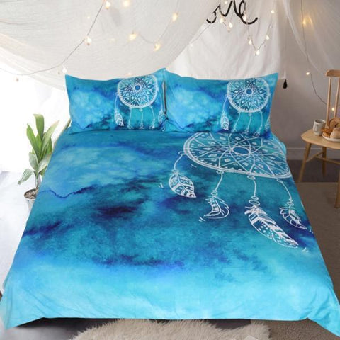 Dreamcatcher Watercolor Duvet Luxury Bedding Set 3 Pcs - Cool Tees and Things