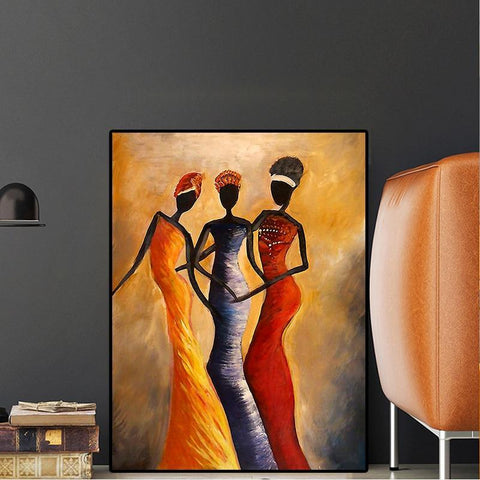 Elegant African Women Portrait. Oil Painting on Canvas-30x40cm no frame-Orange-Cool Tees & Things