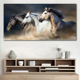 Elegant Running Horses Canvas Art-60x120cm Framed-Cool Tees & Things