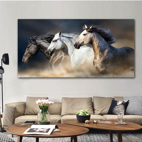 Elegant Running Horses Canvas Art-20x40cm No frame-Cool Tees & Things