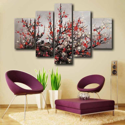 Exquisite Red Plum Blossom Cherry Blossom Flower Oil Painting Canvas-12X16-Red-Cool Tees & Things