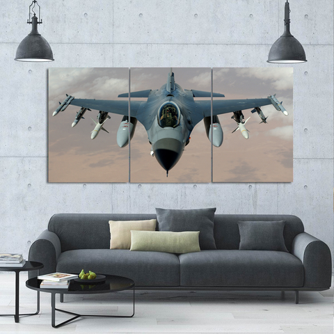 F16 Jet Airplane Canvas-Wallart 3 Piece Vertical Rectangle-Medium - Not framed-Gray-Cool Tees & Things