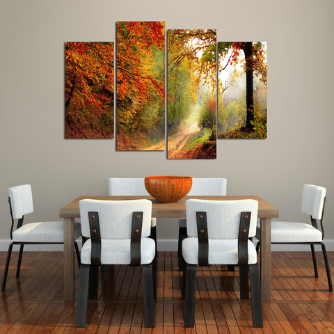 Fall Lovers Canvas-Medium-Not Framed-Orange-Yellow-Green-Cool Tees & Things