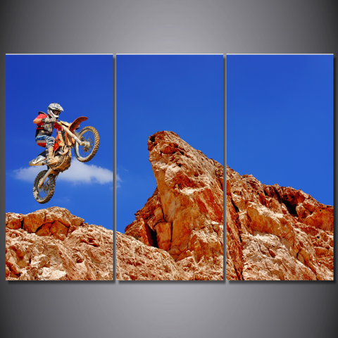 Freestyle Motocross Rider-Wallart 3 Piece Vertical Rectangle-Medium - Not framed-Cool Tees & Things