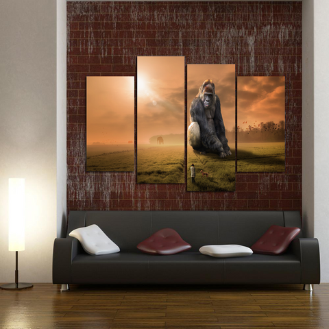 Gentle Giant Gorilla Canvas Print Wall Art Mural-Medium-Not Framed-Brown_Orange-Cool Tees & Things