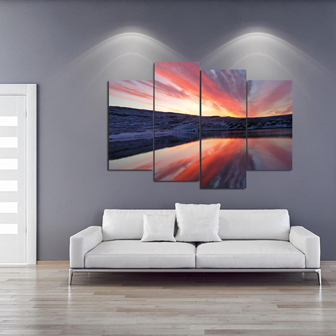 Glorious Sunrise Canvas-Medium-Not Framed-Orange-Pink-Blue-Cool Tees & Things