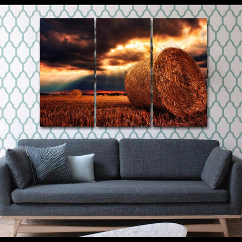Glorious Sunset-Wallart 3 Piece Vertical Rectangle-Medium - Not framed-Blue/Yellow/Orange/Brown-Cool Tees & Things