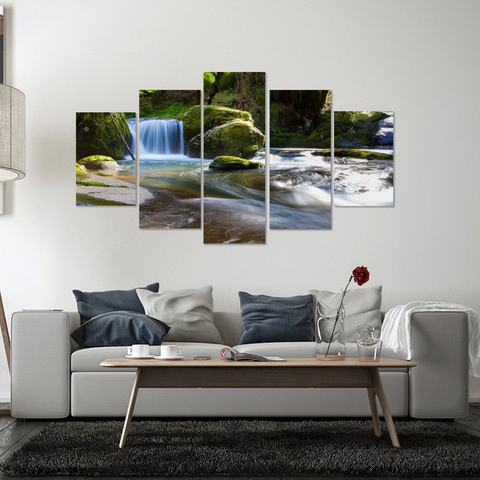 Gorgeous Waterfall-Stunning Canvas Print Wall Art Mural-Medium-Not Framed-Blue, Green, Blue, White-Cool Tees & Things