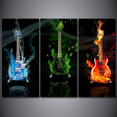 Guitar Lovers Canvas_-Wallart 3 Piece Vertical Rectangle-Medium - No frame-Cool Tees & Things