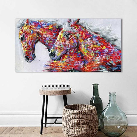 Horse Lovers Graffiti Animal Print-8X16-Red-Not Framed-Cool Tees & Things