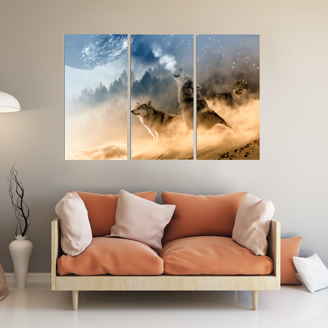 Howling Gray Wolves Canvas-Wallart 3 Piece Vertical Rectangle-Medium - Not framed-Orange-Blue-Cool Tees & Things