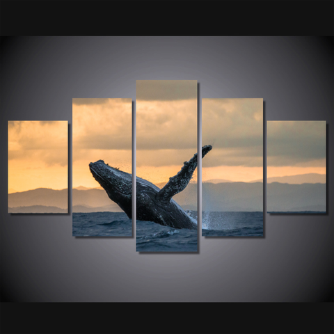 Humpback Whale Jumping-Medium-Not Framed-Cool Tees & Things