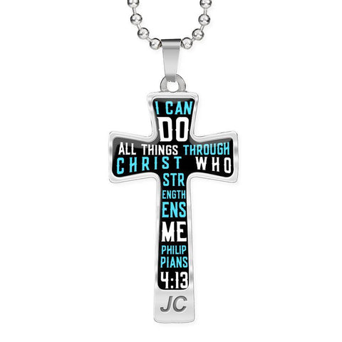 I Can Do All Things Through Christ Luxury Cross Ball Chain Pendant- Cool Tees and Things