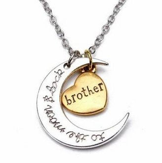 I Love You to the Moon and Back Brother Pendant - Cool Tees and Things