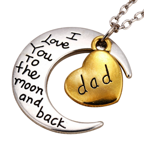 I Love You to the Moon and Back Dad Pendant - Cool Tees and Things