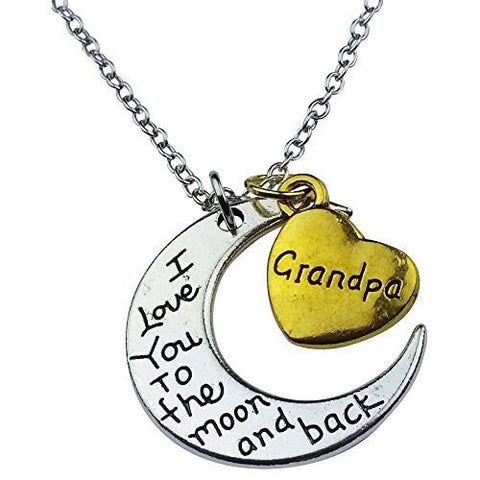 I Love You to the Moon and Back Grandpa Pendant - Cool Tees and Things