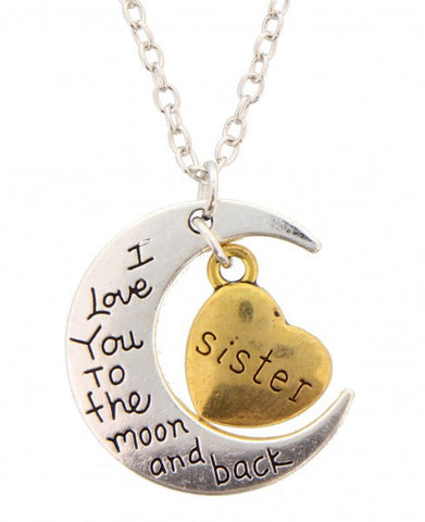 I Love You to the Moon and Back Sister Pendant - Cool Tees and Things