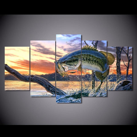 Jumping Bass Fish Canvas-10x15 10x20 10x25cm-Not Framed-SteelBlue-Cool Tees & Things