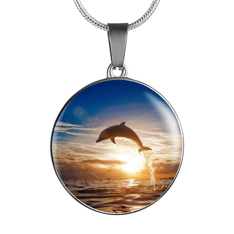 Jumping Dolphin Pendant Necklace - Cool Tees and Things