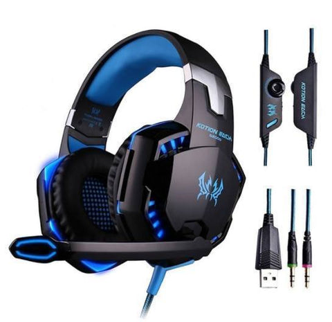 Kotion Each G2000 Over-ear 3.5mm Stretchable Band Video Game Headphone - Blue - Cool Tees and Things