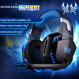 Kotion Each G2000 Over-ear 3.5mm Stretchable Band Games Headphone - Blue - Cool Tees and Things