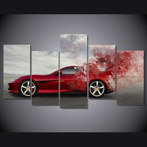 Lightning Fast Ferrari-Wallart 5 Piece Staggered-Medium - No frame-Red-Cool Tees & Things