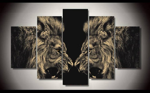 Lions Face Off-Medium-Not Framed-Cool Tees & Things